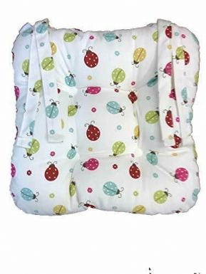 UK MADE SET OF 4 LADYBIRD TIE ON CHUNKY PADDED CUSHION CHAIR SEAT PAD £29.99 SET